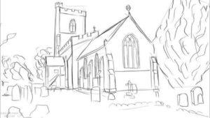 dibujo de iglesia para colorear 1 scaled