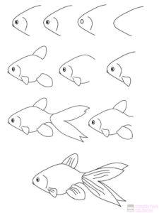 cómo dibujar un pescado 1