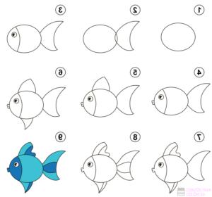 como dibujar pescados