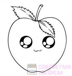 imagenes de manzanas animadas para colorear