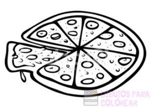 imagenes de pizza para colorear