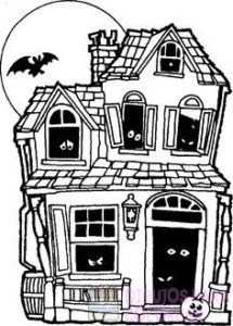 dibujos de casas embrujadas para colorear